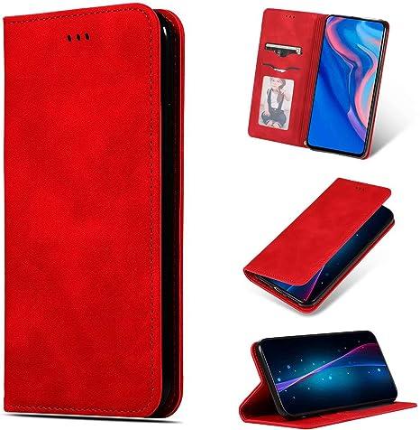 Funda para Huawei P40 Lite Funda Libro, Cartera Estuche Antigolpes Golpes de Cuero con Libro de Cuero Flip Case, Carcasa PU Leather con TPU Silicona Case Interna Suave Cierre Magnético rojo: Amazon.es: