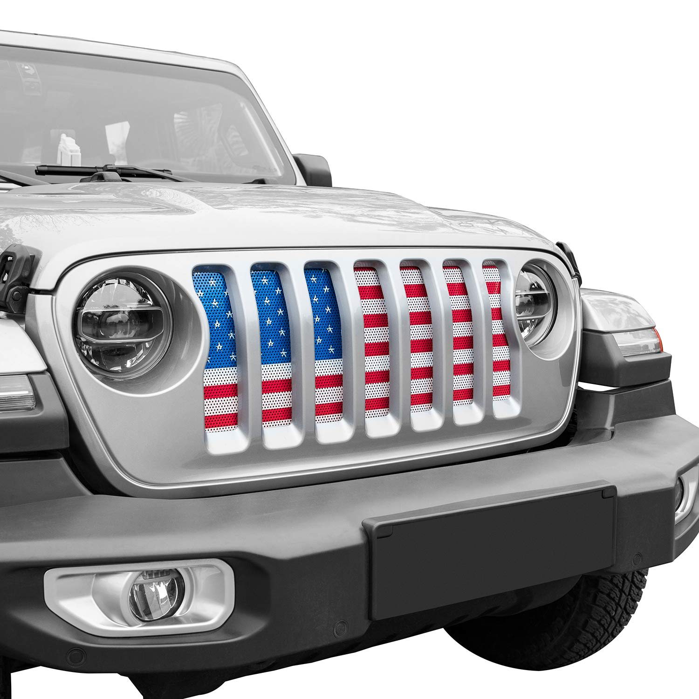 u-Box Jeep Wrangler Front Grille Insert Black /& White America Flag Mesh Grille Insert for 2018 2019 Jeep Wrangler JL
