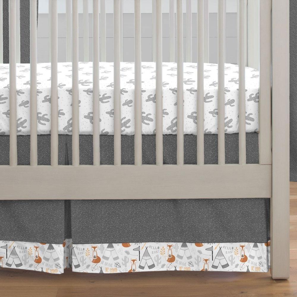 Carousel Designs Gray Fox Crib Skirt Box Pleat 20-Inch Length