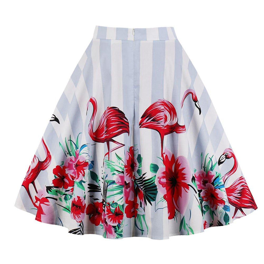 Yotown Mujer Falda A-Line Vintage Falda Medium Largos Estampado ...