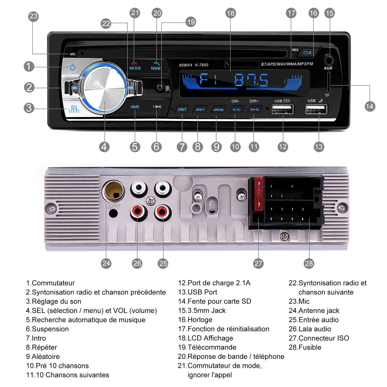 Autoradio Bluetooth, CENXINY 1 DIN Radio Voiture Récepteur avec Lecteur MP3 WMA FM Télécommande, Deux USB Port,Main Libre Stéréo 4 x 65W Soutien iOS, Android