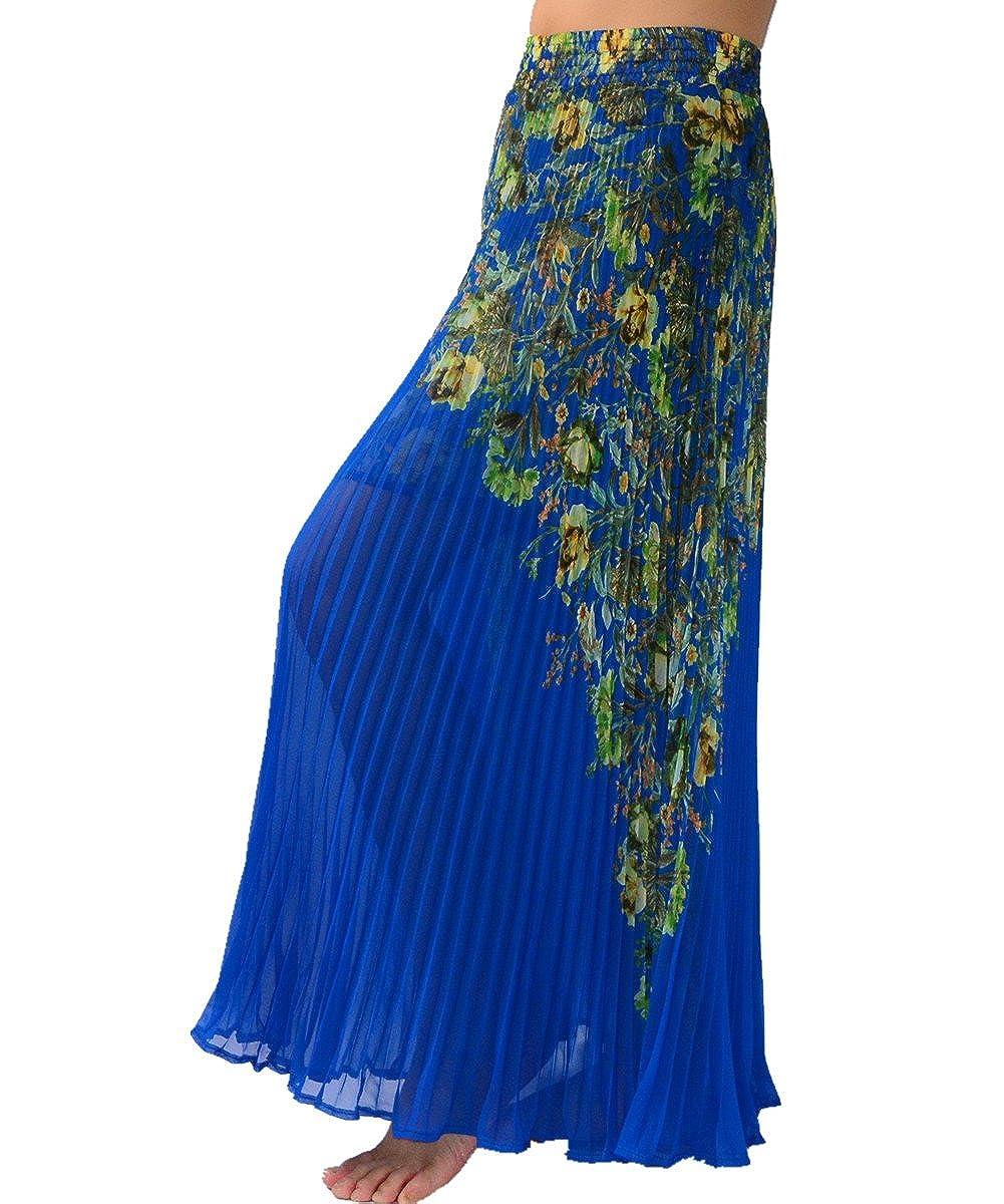 9179cba5bd95 YSJ Women's Maxi Skirt - 35.4-inch Floral Chiffon Organ Pleated Vintage  (Blue) at Amazon Women's Clothing store: