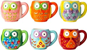 Ceramic Owls Mug Set of 6 - Novelty Coffee Mugs for Men & Women made of, Chip-free Ceramic - Cute Gifts for Owl Lovers - Owlsome Christmas Gift Idea