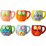 Ceramic Owls Mug Set of 6 - Novelty Coffee Mugs for Men & Women made of, Chip-free Ceramic - Cute Gifts for Owl Lovers - Owls