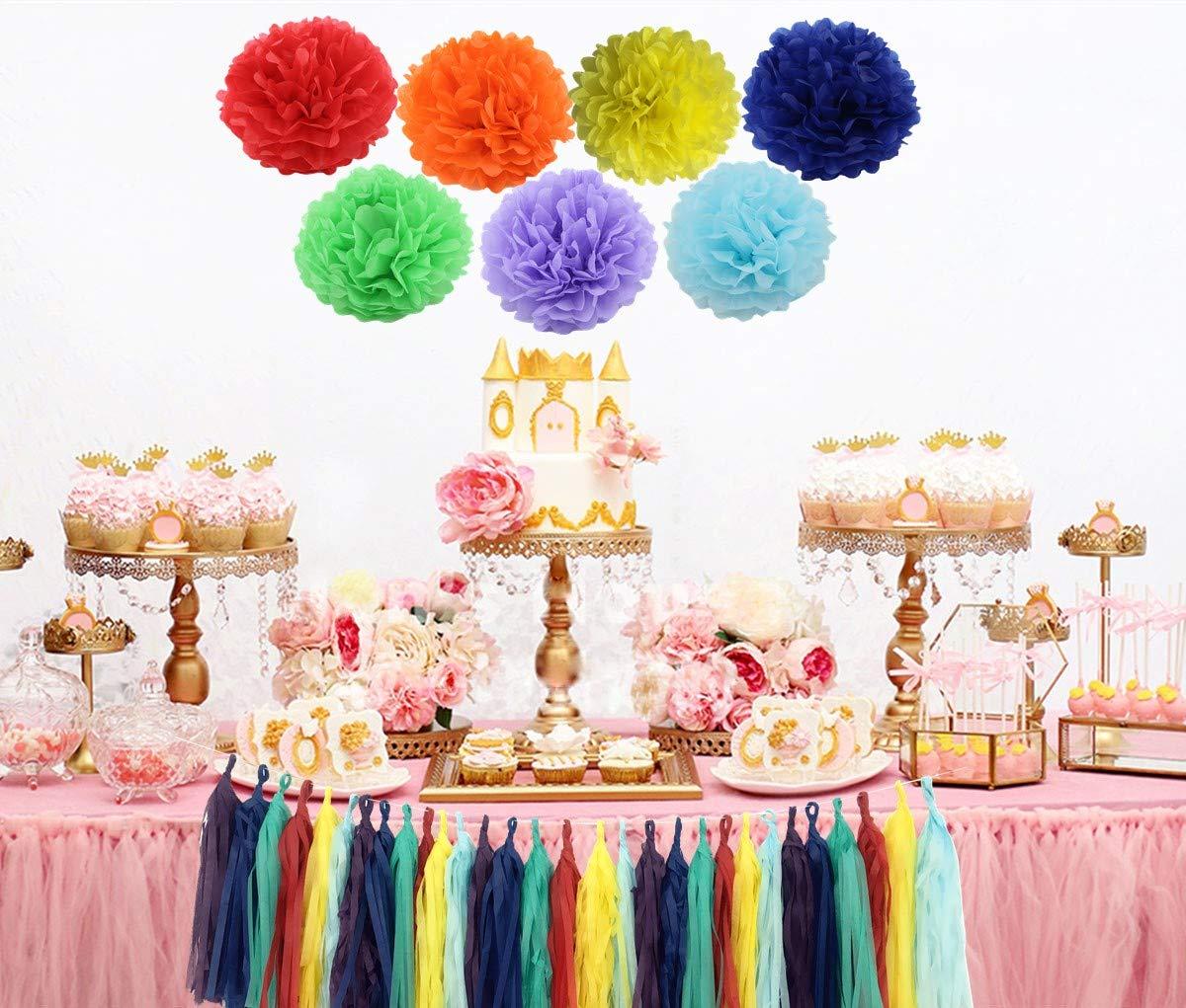 10 Tissue Paper Flower Pom Pom Tassel Garland 37PCS Rainbow Party Decoration Kit Baby Shower Bridal Shower Birthday Colorful Party Supply Set