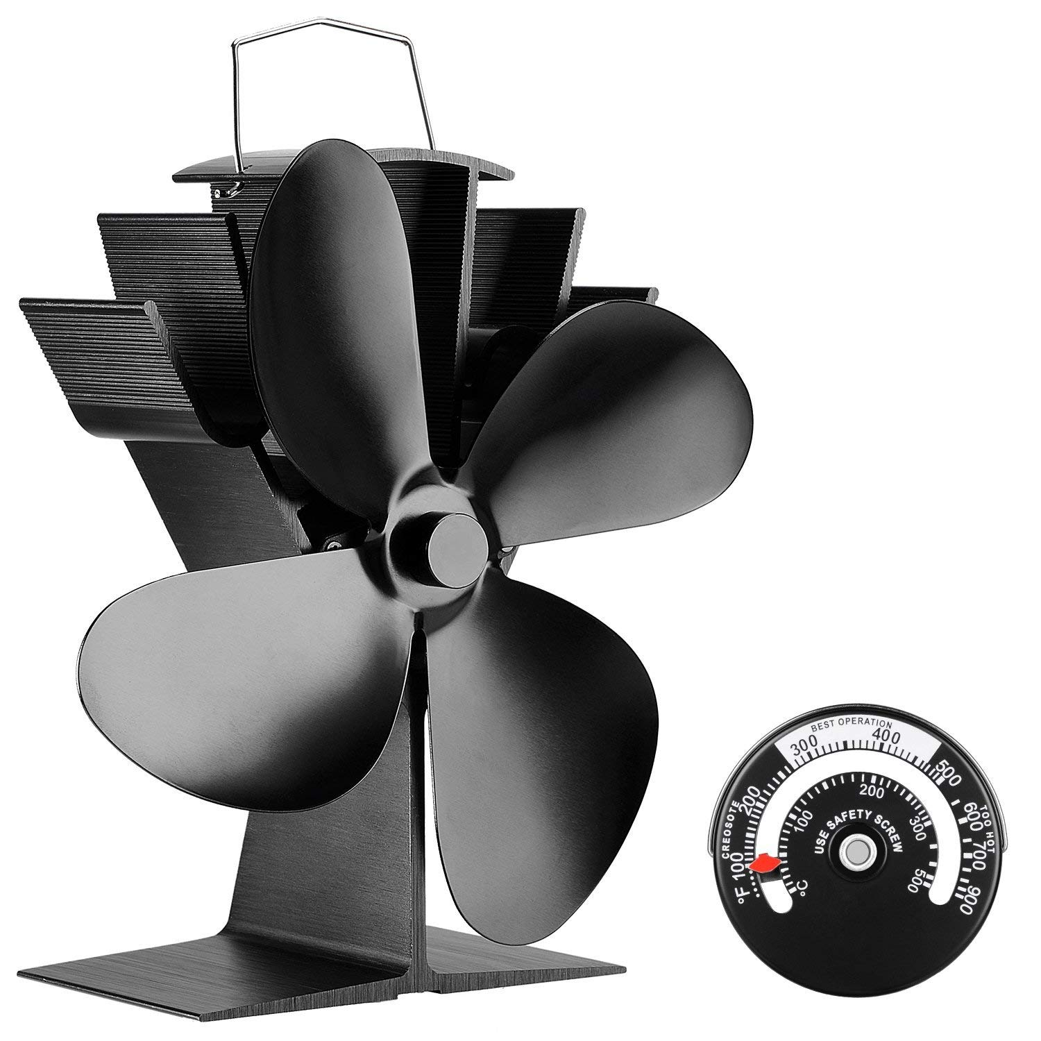 KINDEN Fireplace Fans 4-Blade - Heat Powered Stove Fan for Wood Log Burner Ultra Quiet Increases 80% More Warm Air Than 2 Blade Eco-Friendly with Stove Thermometer (Aluminium Black,Large Size) by KINDEN
