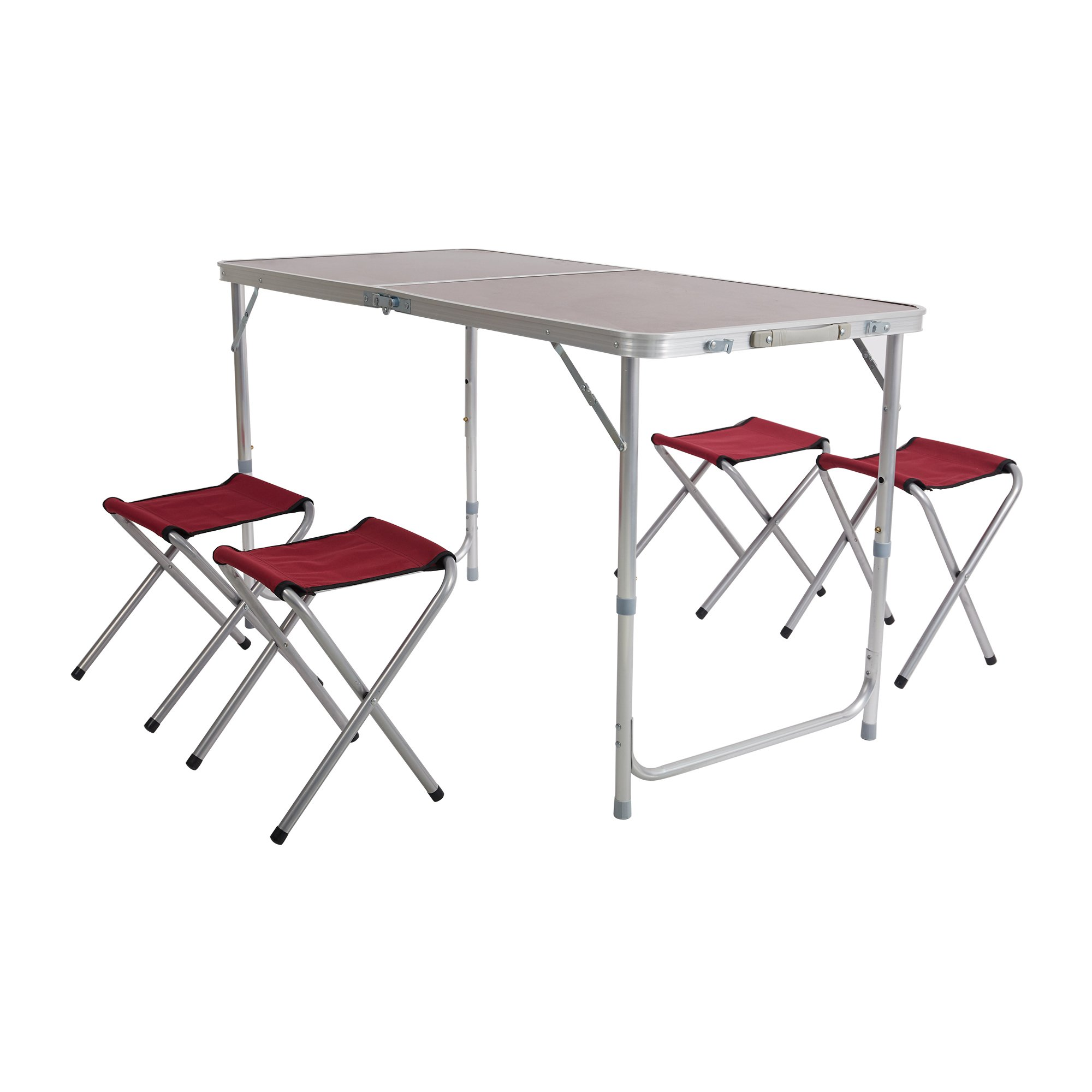 Dporticus Folding Picnic Table with 4 Chairs, Adjustable Aluminum Table for Picnic, Party Dining Indoor/Outdoor Use