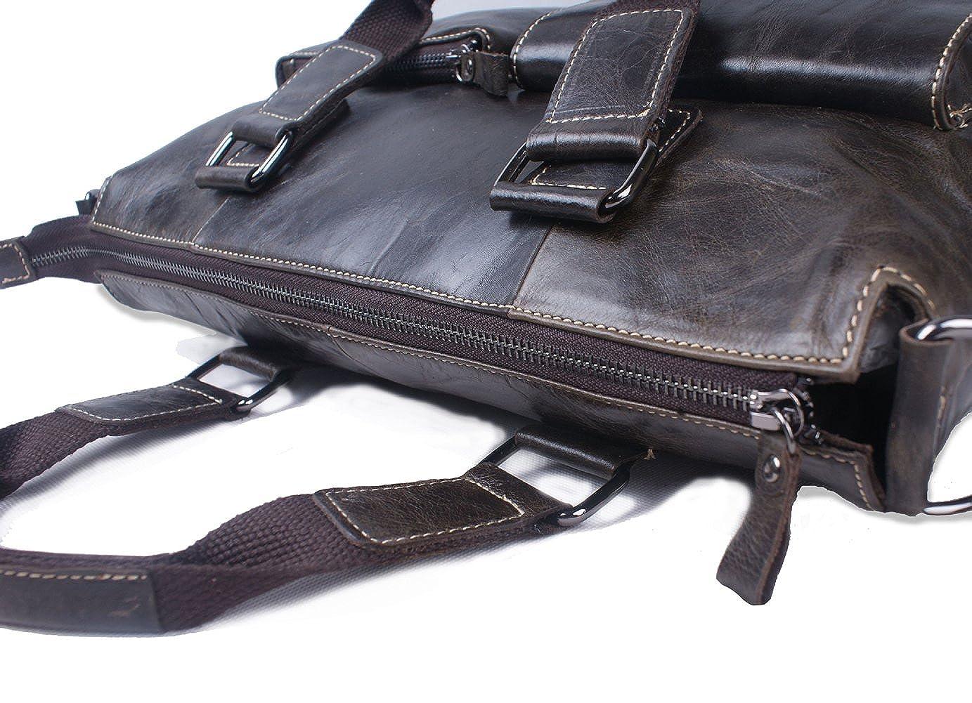 Liveinu Mens Leather Briefcase Bag Vintage Messenger Crossbody Bag Large Capacity