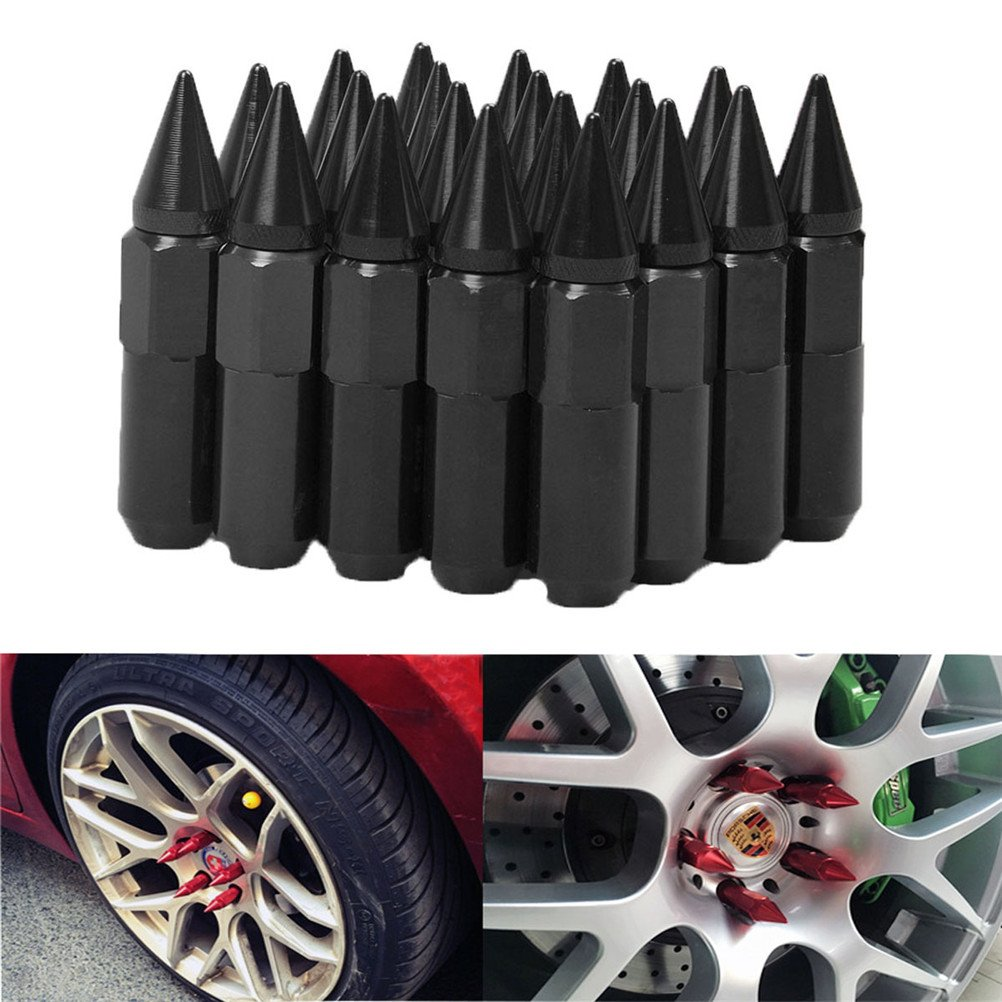 12X1.25,black EKYAOMEI 20pcs Aluminum Wheel Hug Nut 60mm 12x1.25 Spike Mounted Extend Nut Refit Hex Lug Nut