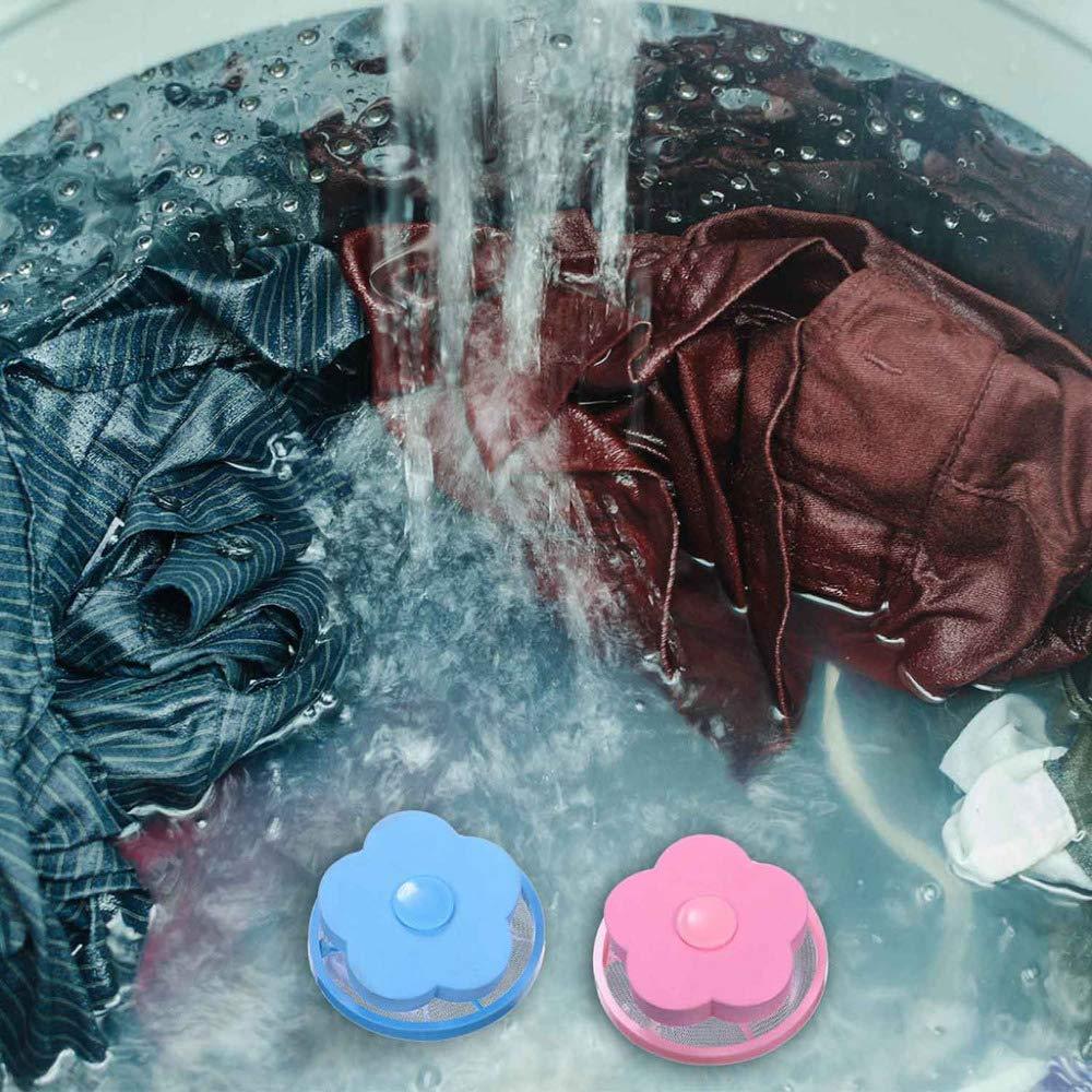 Lomire/®2 St/ück Blume Form Mesh Filter Tasche Filterbeutel Laundry Clean W/äscheball Waschmaschine Filtration Haar Entfernung Ger/ät Haus Reinigung Werkzeuge rosa+blau 2St/ück