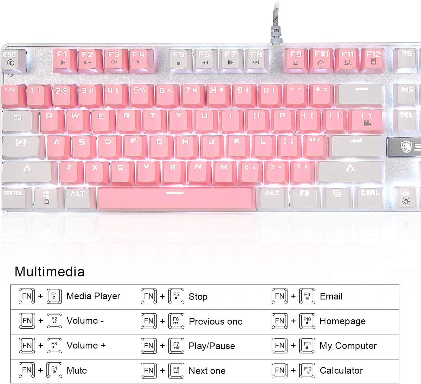 Pink White Mechanical Gaming Keyboard,SADES Blue Switches 104 Keys Mechanical Gaming Keyboard,Wired USB White LED Backlit Cute Computer Keyboard,Pink Mechanical Gaming Keyboard for PC//Mac//Laptop