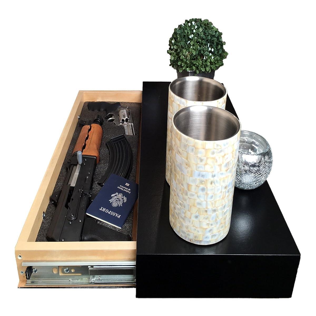 Covert Cabinets (Satin Black GS-1228 Gun Cabinet Wall Shelf Hidden Storage