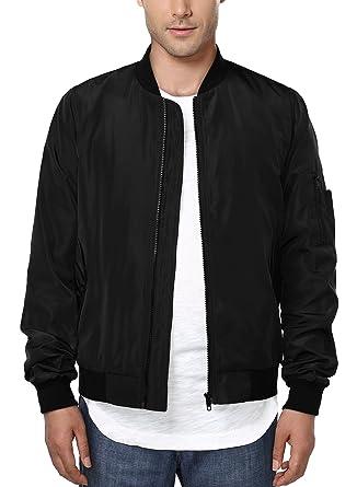 HEMOON Men's Casual Sportswear Lightweight Baseball Bomber Jacket ...