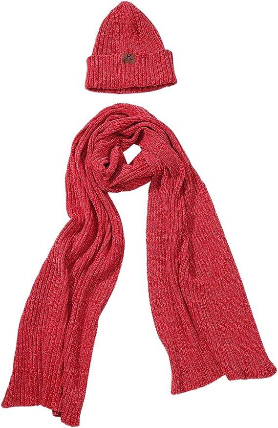 2Pcs Men Women Winter Scarf Hat Set Solid Knit Cotton Thermal Scarves Skull Cap