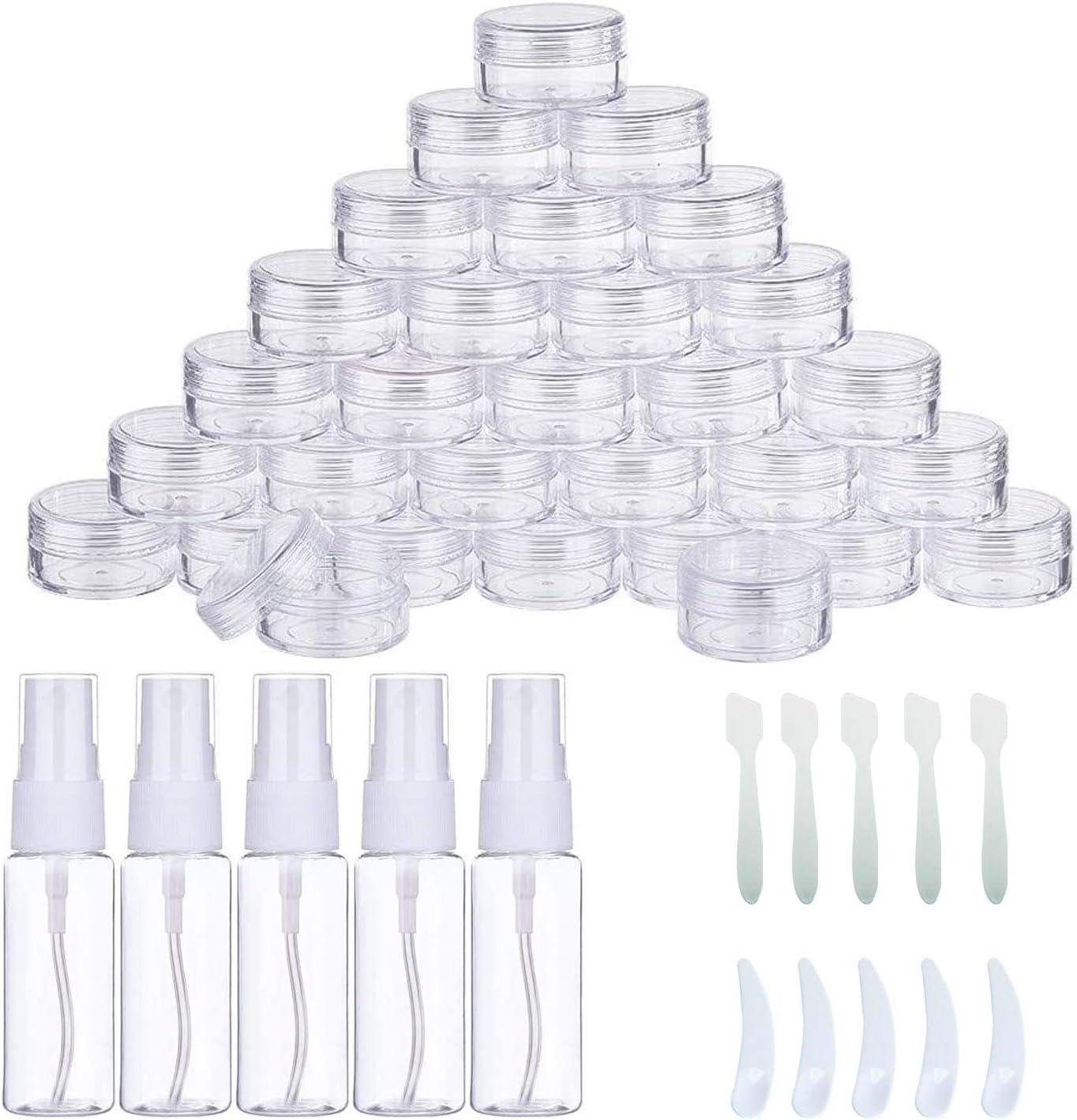 Woohome 60 Pz Bote de Plástico Tarro Vacío Contenedor, 30ML Botellas de Pulverización y Minirremolques para Cremas Muestra de Almacenamiento (Redondo, Transparente)