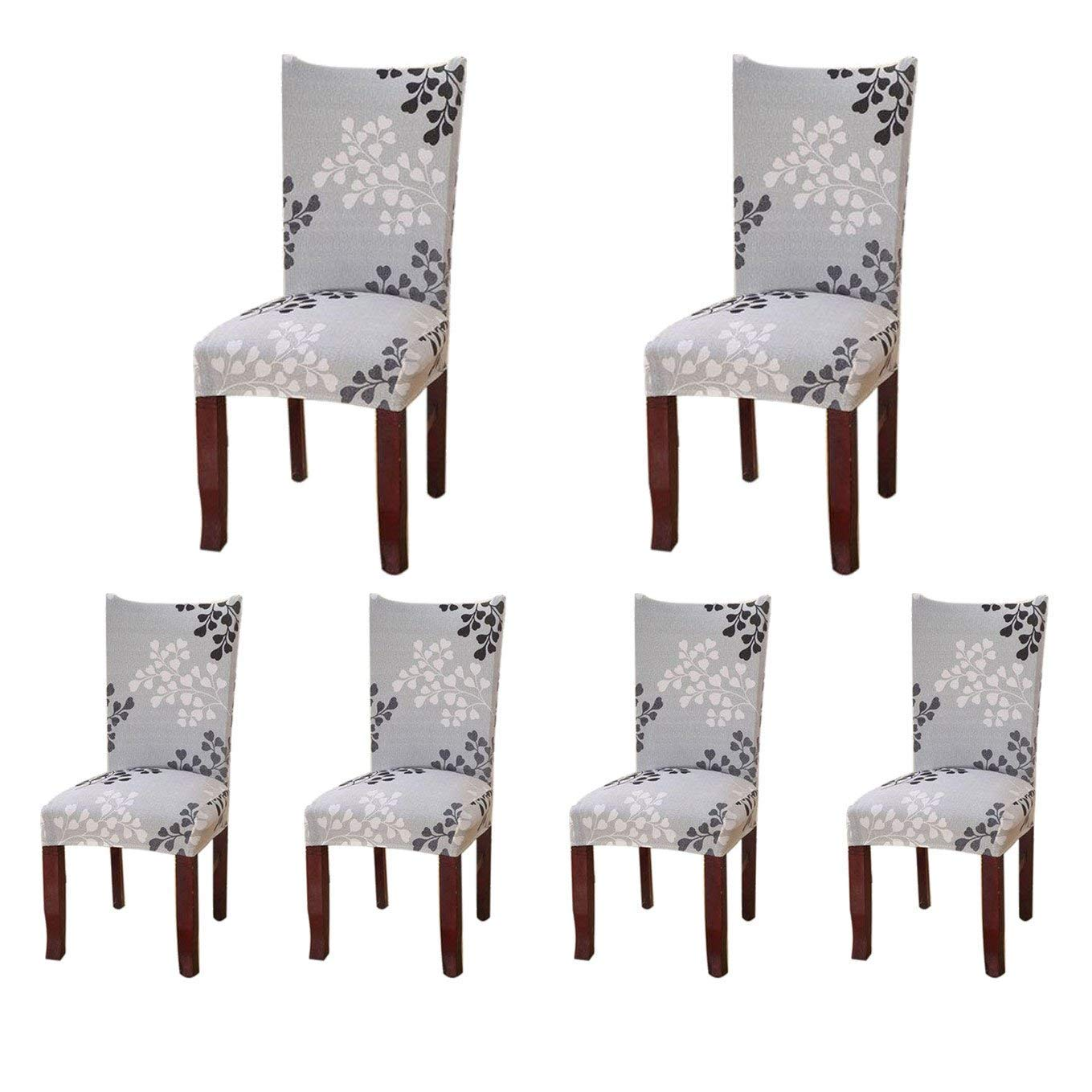 SoulFeel 6 x Soft Spandex Fit Stretch Short Dining Room Covers with Printed Pattern, Banquet Chair Seat Protector Slipcover for Home Party Hotel Wedding Ceremony, Pack of 6, Style 24