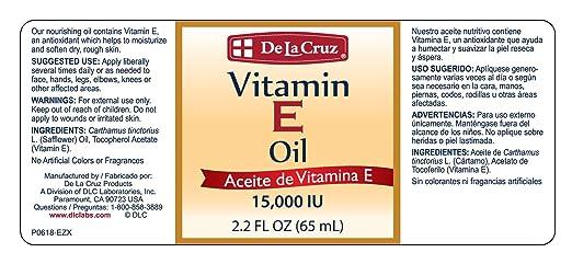Amazon.com : De La Cruz® Vitamin E Oil 15, 000 IU 2.2 FL. OZ. - (4 BOTTLES) : Beauty