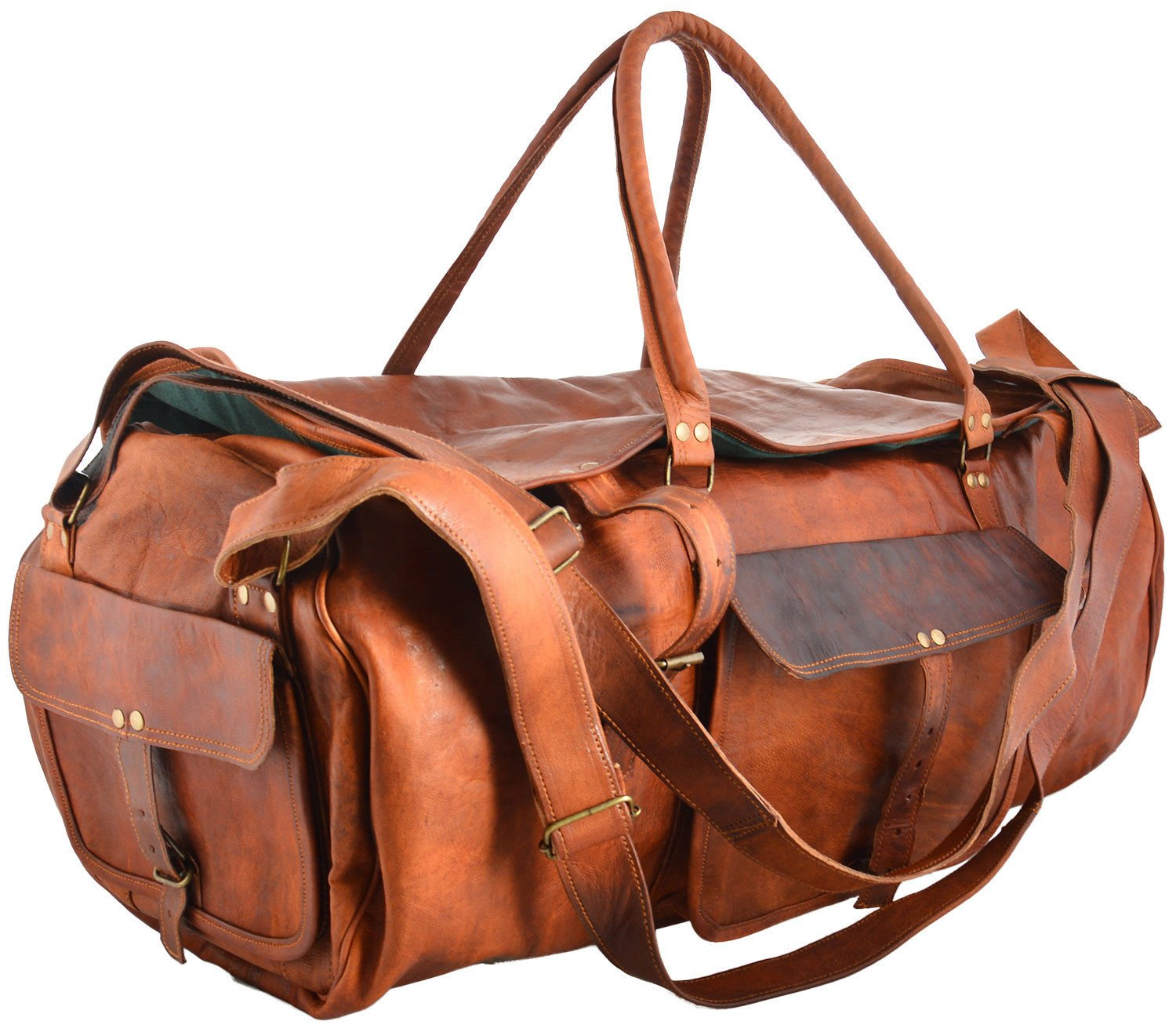 thehandicraftworld Real goat leather handmade travel luggage vintage holiday trip india duffel bag