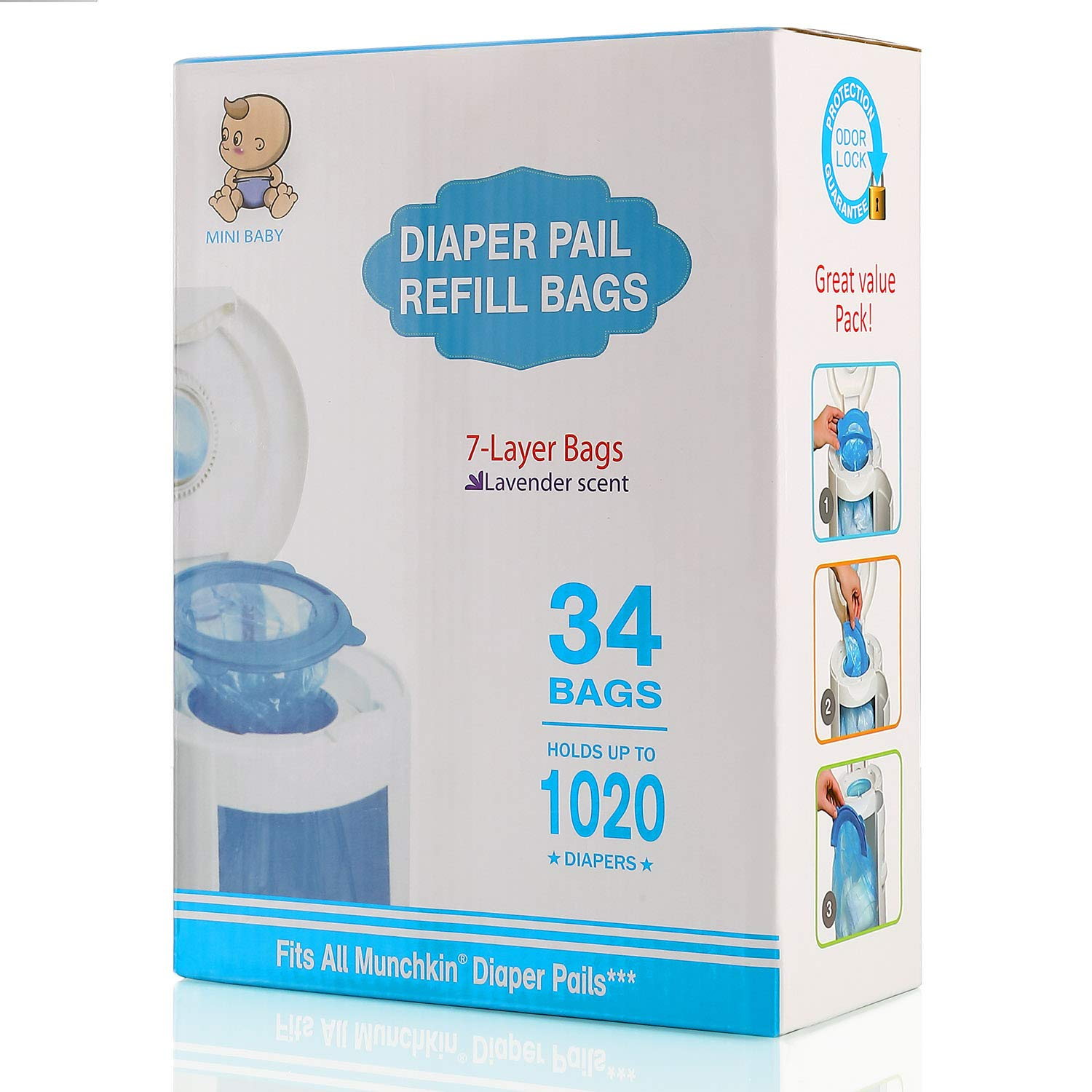 Diaper Pail Refill Bags, 1020 Counts, 34 Bags, Fully Compatible with Arm&Hammer Disposal System by UDME