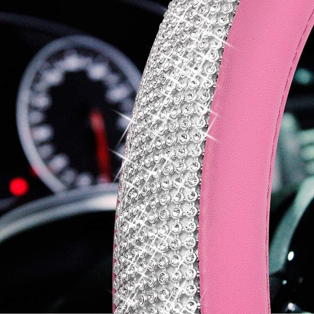 ABEY 15 Inch Diamond Steering Wheel Cover with Bling Bling Crystal Rhinestones BLACK Universal Size Anti-Slip PU Leather Car Handcraft Protector for Women Girls