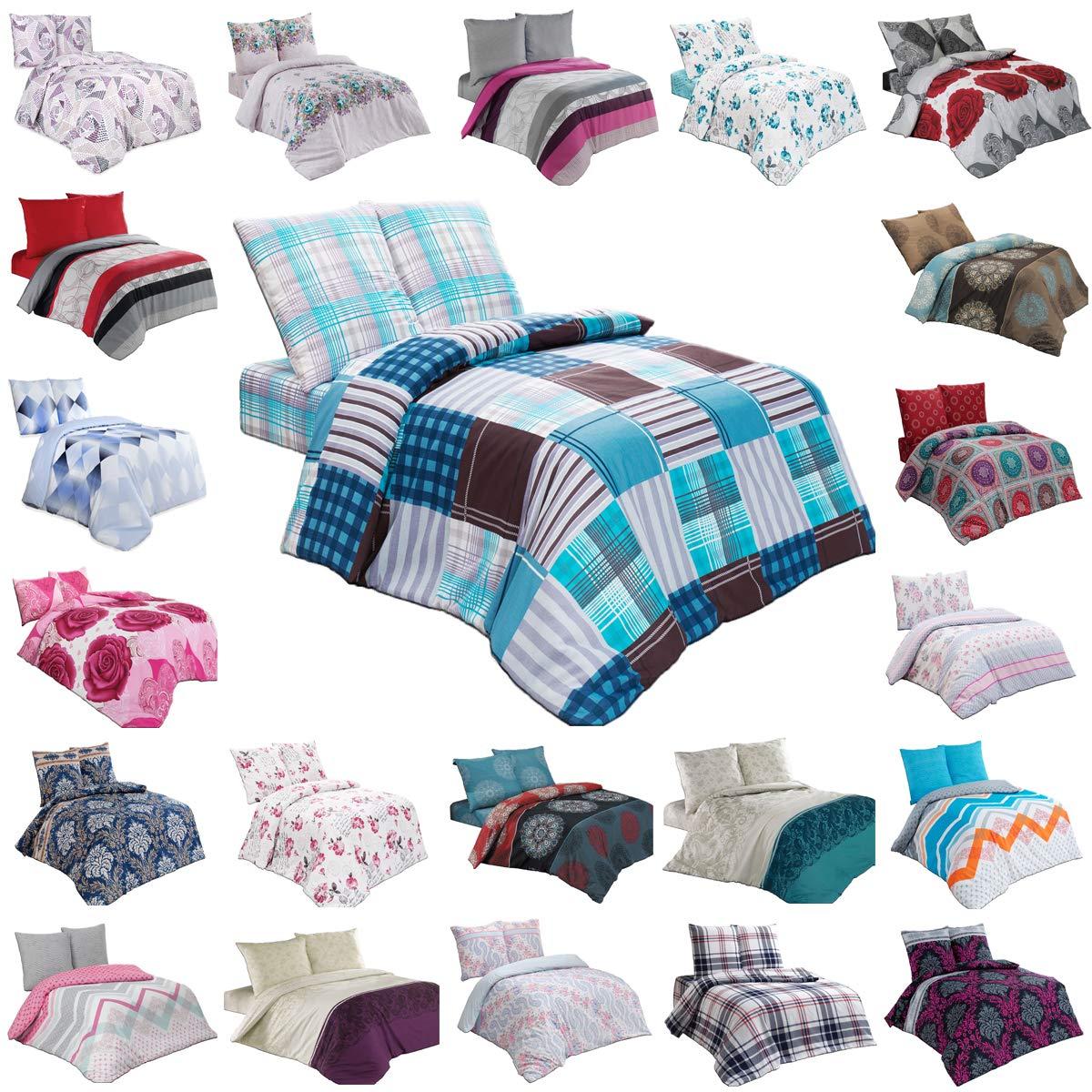 BUYMAX Bettwäsche Bettgarnitur mit Reißverschluss 3 Größen und vielen Farben Öko-Tex (135x200 cm, Design 14)