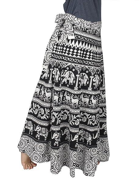 5db5c9acd86241 Store Indya, 100% Cotton Wrap Around Skirt Bohemian-Style Adjustable  Mandala Print Casual