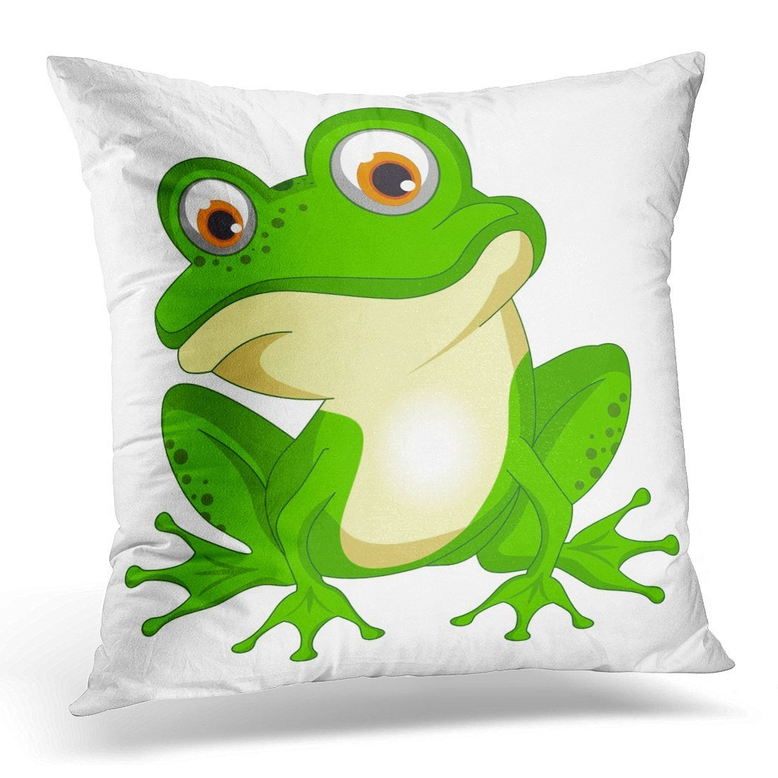 SPXUBZ Cartoon Frog Toad Amphibians Clipart Decorative Home Decor Square Indoor/Outdoor Pillowcase Size: 20x20 Inch(Two Sides)
