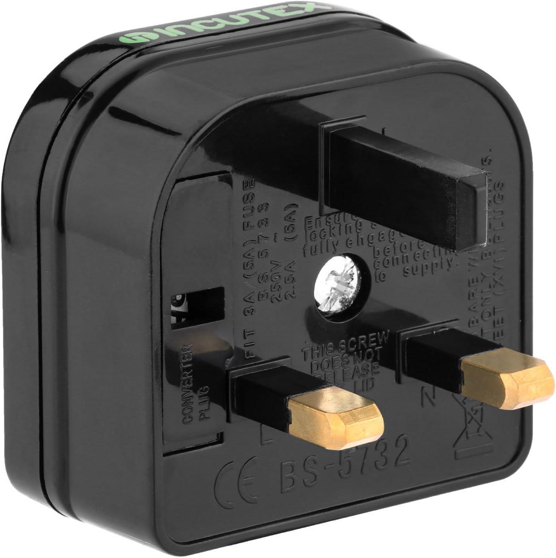 wei/ß Incutex 1x Reisestecker UK GB England Travel Adapter Typ C Eurostecker 2-Pin auf UK 3-Pin Reise Steckdosenadapter
