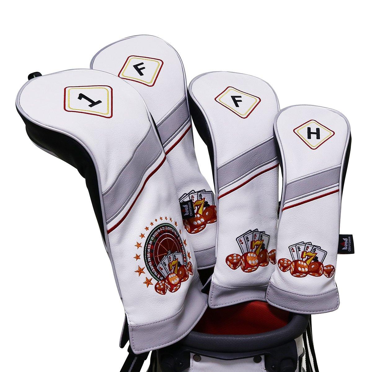 Craftsman Golf 4pcs / Set # 1 # 3 # 5 H耐久性PUレザーヴィンテージ460 ccドライバーFairway WoodsハイブリッドHeadcovers Set for Taylormade、Callaway、Titleist、Ping B077V8HP97 Roulette