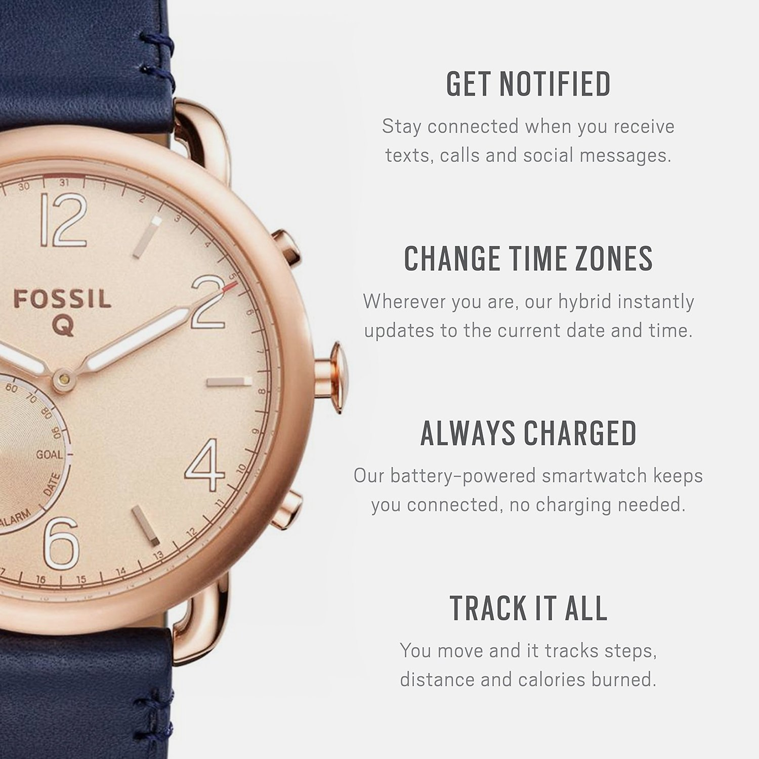 Fossil Hybrid Smartwatch - Q Tailor Dark Navy Leather by Fossil (Image #1)