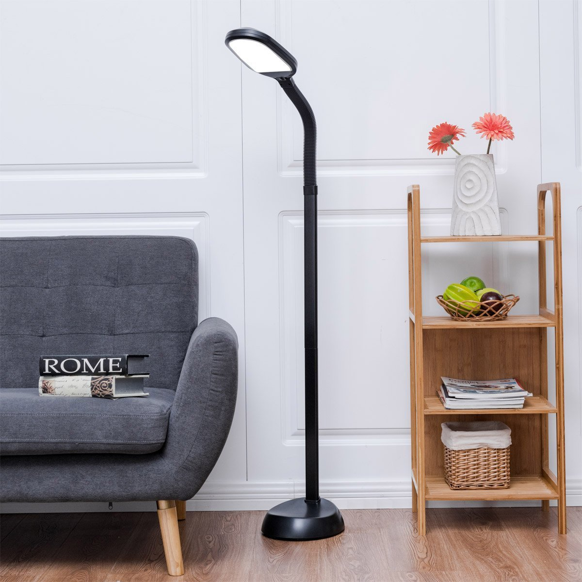 Giantex LED Floor Lamp for Reading Gooseneck Standing Lamp Energy Saving Floor Light for Living Room, Bedroom, Office (Black) by Giantex