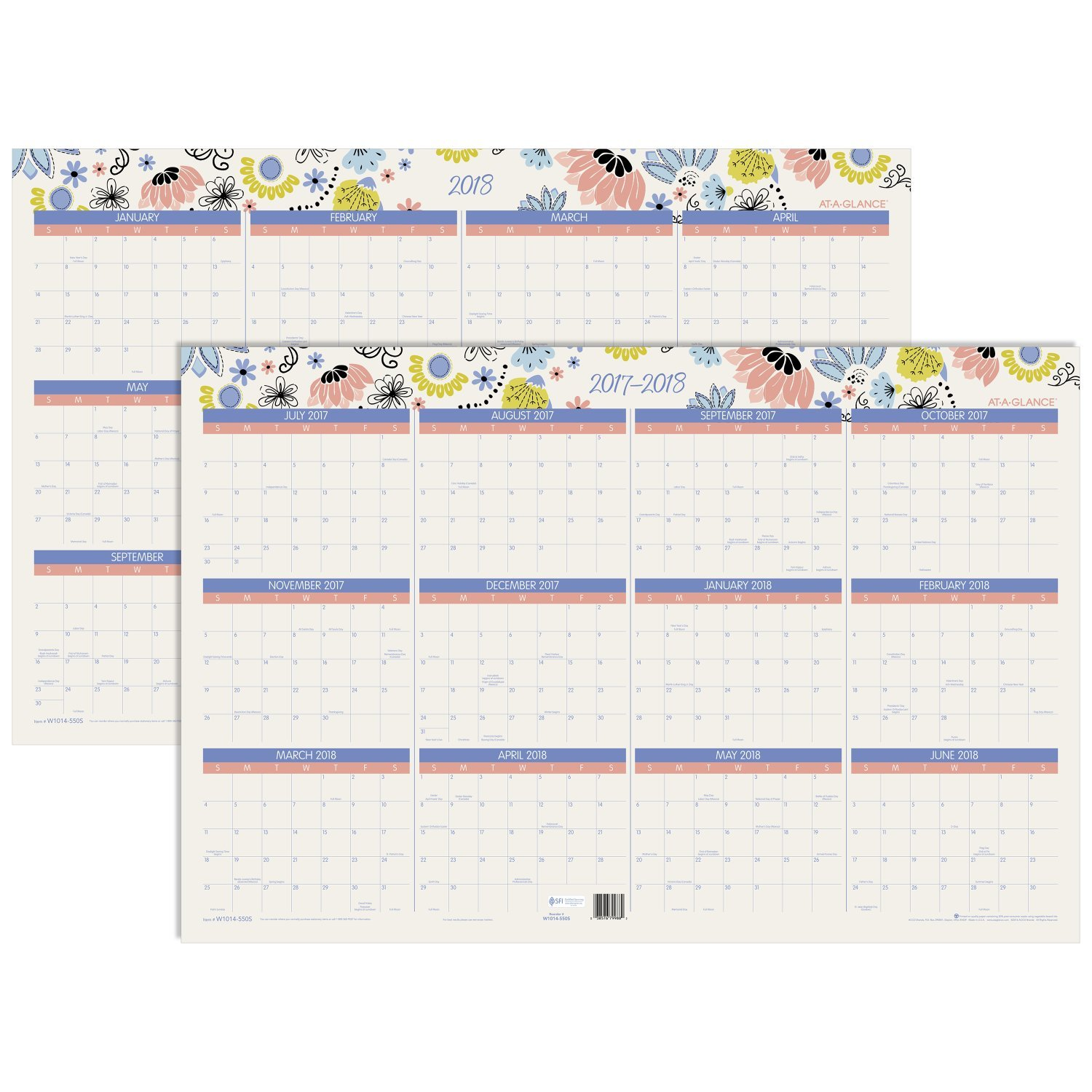 """Amazon AT A GLANCE Wall Calendar Academic Regular Year July 2017 June 2018 January 2018 December 2018 24"""" x 36"""" Erasable Claire W1014 550S"""