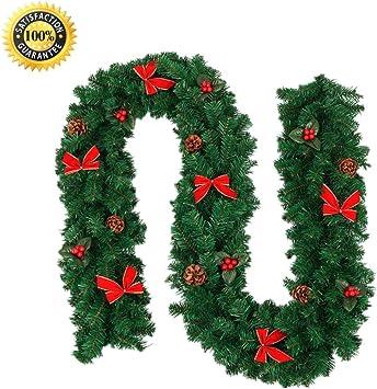 9FT LED Christmas Garland Decor Xmas Pre-Lit Fireplace Tree Pine Ornament UK
