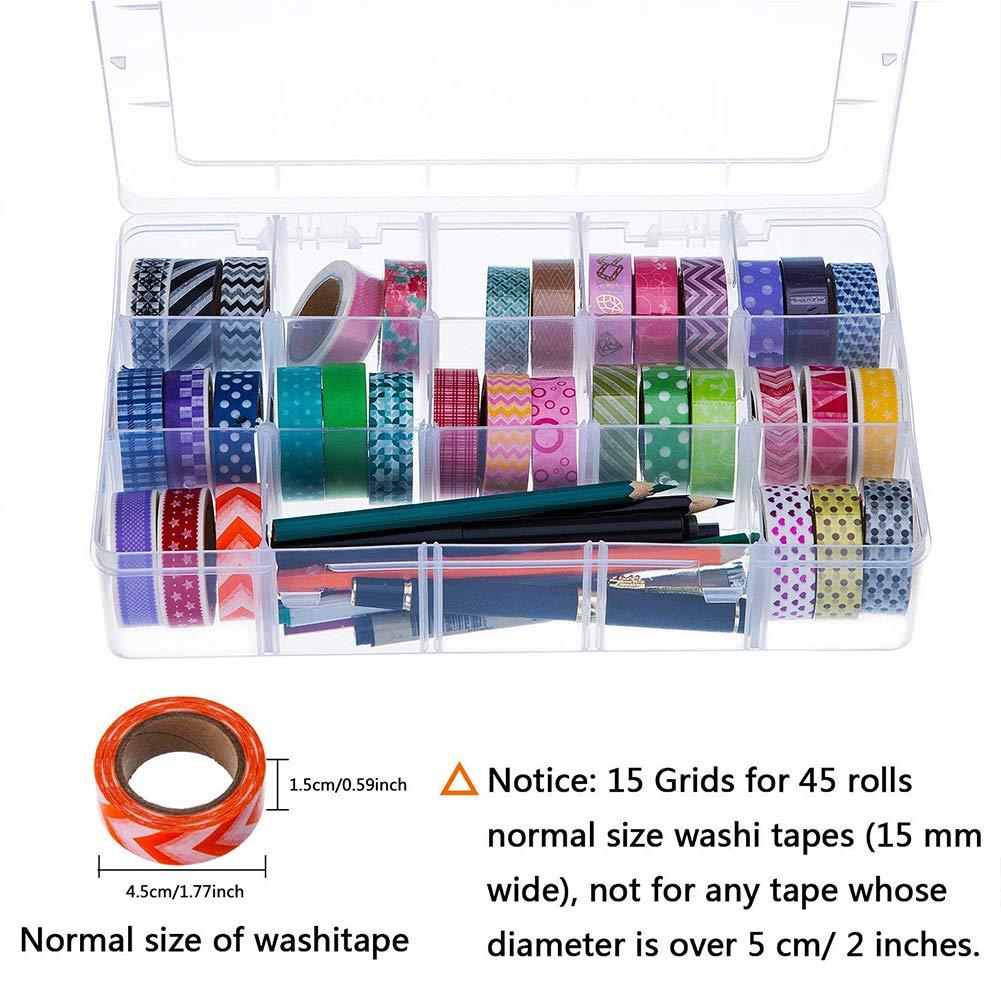 per carta Washi Tape AimdonR Organizer da scrivania accessori artistici e adesivi trasparente 15 scomparti