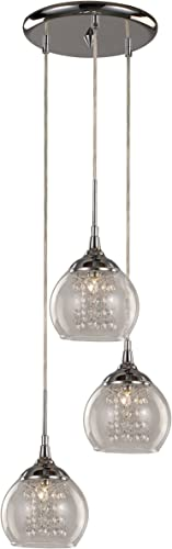 Trans Globe Imports MDN-1218 Contemporary Crystal Three Light Pendant from Amore Collection Finish, 13.00 inches, Polished Chrome