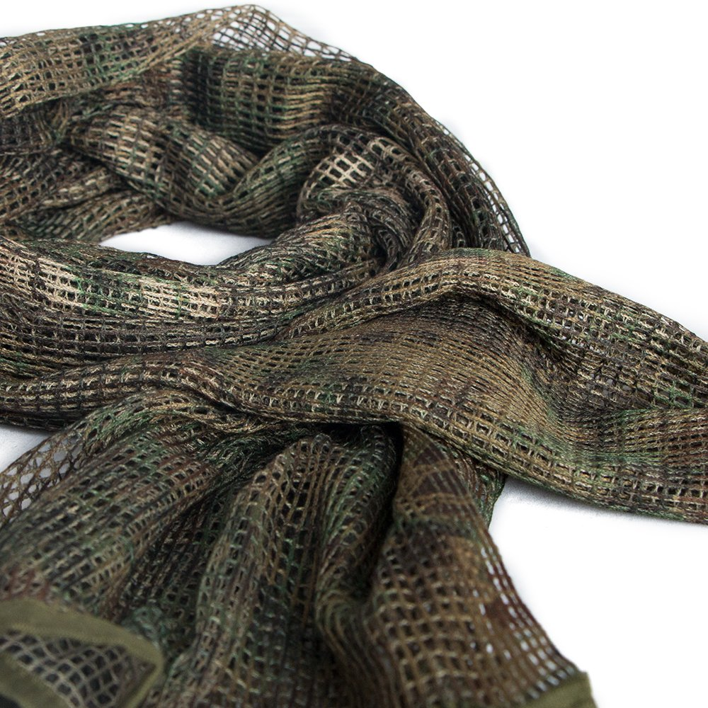 IRQ Tactical Military Neck Scarves Camo Men Scarves Ghillie Sniper Veil Desert Shemagh Scarf Knitting Mesh Net Head Face Wrap for Wargame Sports Outdoor Activities Multifunctional Army KeffIyeh