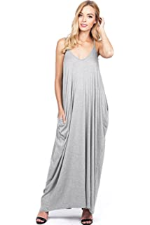3c5dab4d6b2 Love Stitch Women s Light Linen Simple Maxi Dress at Amazon Women s ...