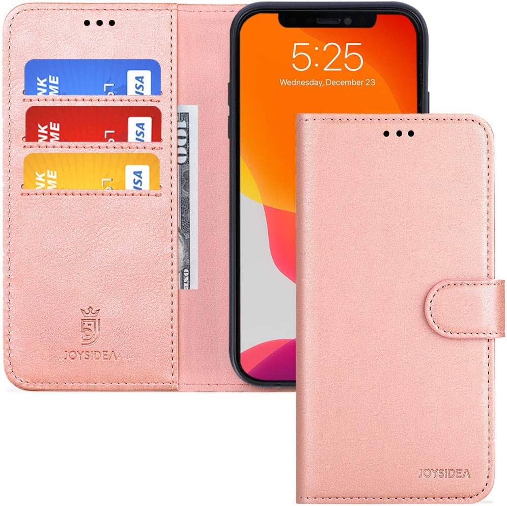 JOYSIDEA iPhone X/XS Leather Wallet Case, Premium PU Leather Slim Flip Folio Case with Card Holder, Kickstand and Shockproof TPU Cover for iPhone X/XS 5.8 inch, Rose Gold