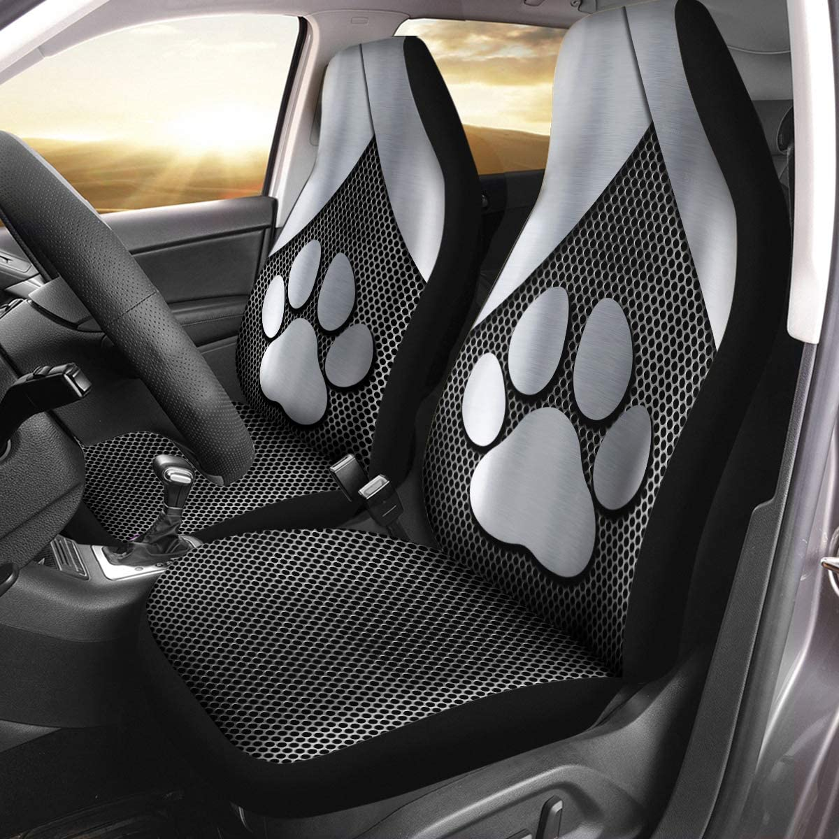 VTH Global Dog Paw Print 3D Silver Metal Airbag Compatible Seat Covers Car Accessories Size Universal Fit for Most Cars SUV Truck
