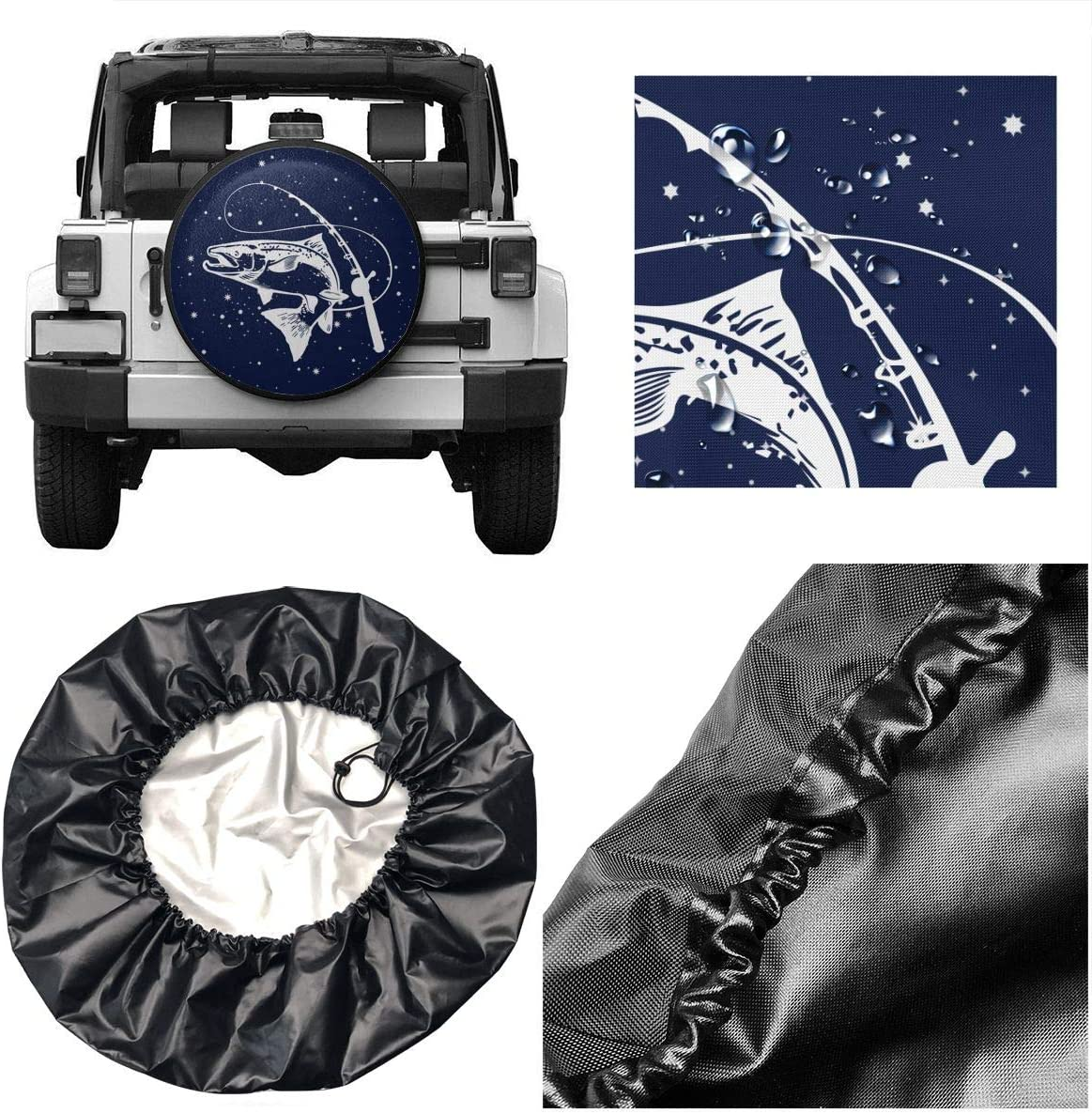 BAG9S-G Boat Cartoon Fish Tire Covers Car SUV Camper Travel Trailer Spare Tire Wheel Covers