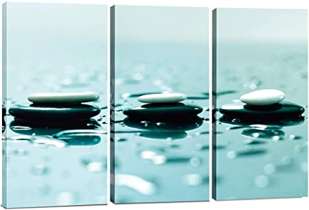 Split Canvas Wall Art Decor – Relaxing Zen Stones Wall Art, 3 Panels Hanging Canvas Art Set – Decorative Wall Art Prints for Living Room, Bedroom, Office, Spa, Home Decor, Painting Gift, 24×36 Inch