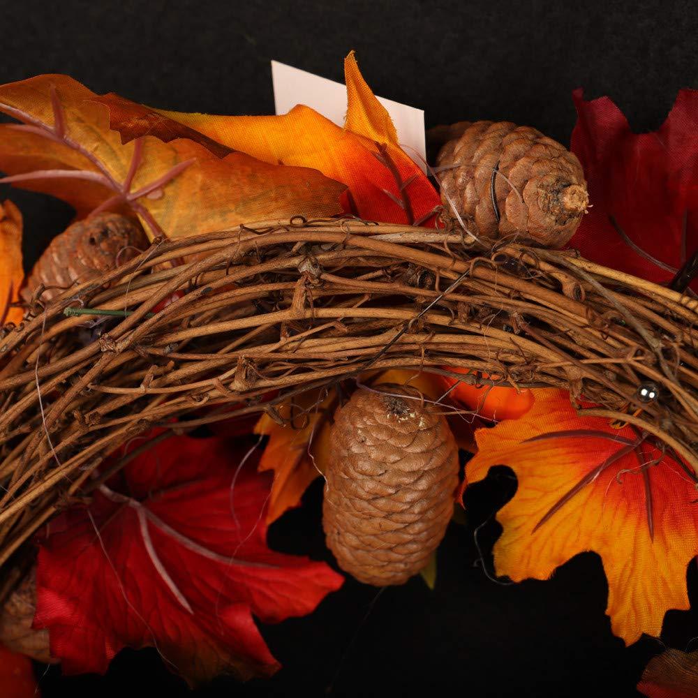 Promisen Halloween Garland,Rattan Berry Maple Leaf Fall Door Wreath Door Wall Ornament for Halloween Thanksgiving Day Decor (As Shown)