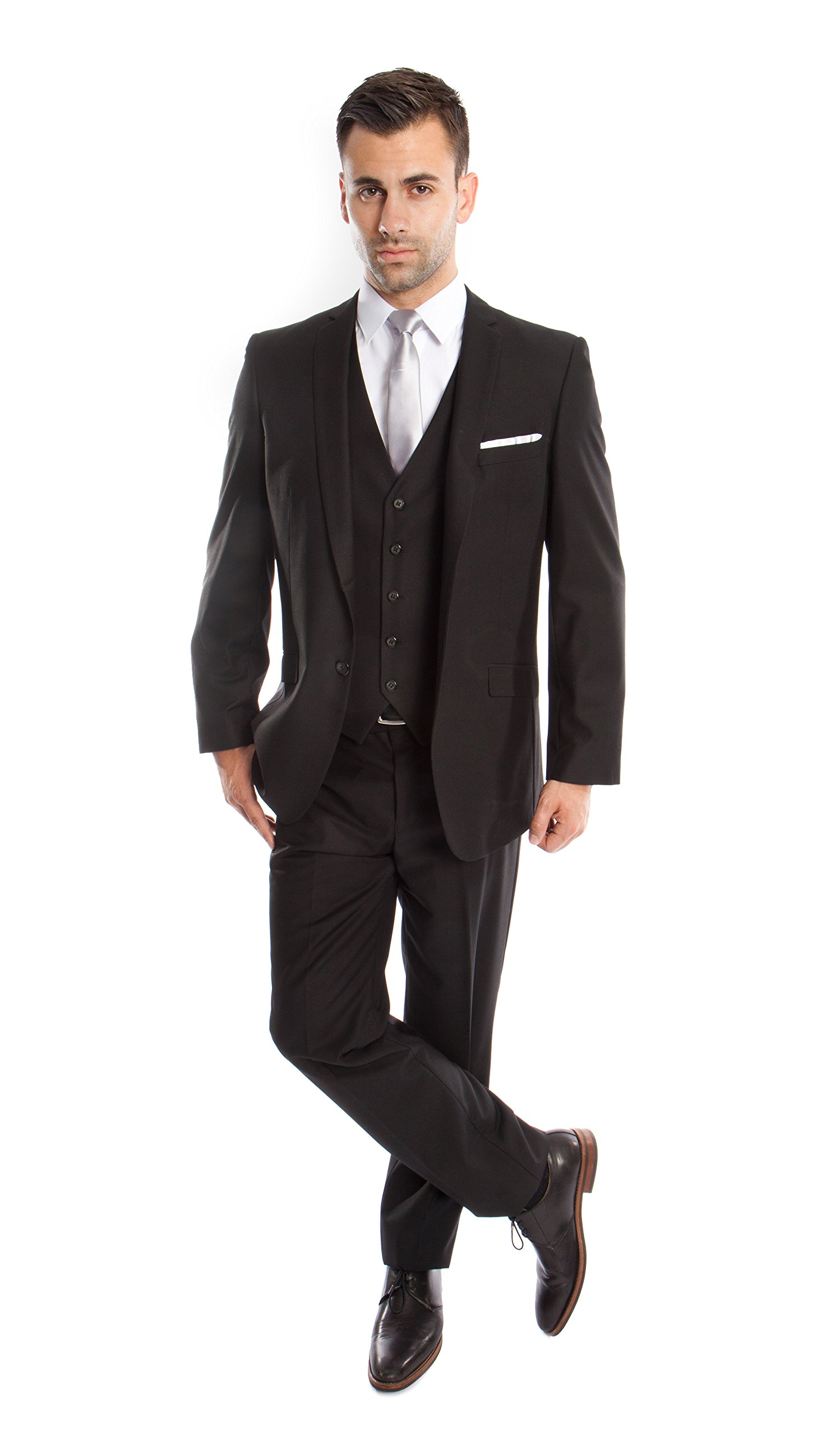 TAZIO Mens Luxurious Solid Tuxedo Suits 3 Piece Suit Set (50L, Black)