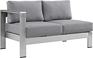 Modway Shore Aluminum Outdoor Patio Left Arm Loveseat in Silver Gray