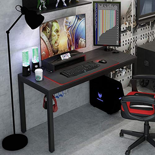 Need Gaming Table Black All-in-One Gaming Desk with RGB LED Soft Gaming Mouse Pad 55 Inches Length Computer Desk