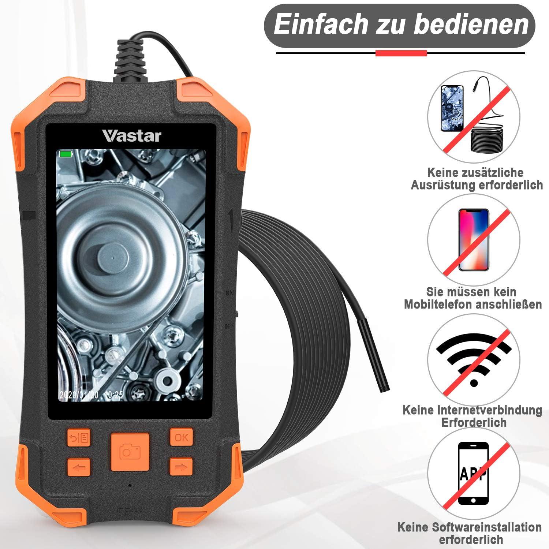 5M 3000 mAh Vastar Inspektionskamera 4,3 Zoll IPS-Farb-LCD-Monitor Industrieendoskop 5,5 mm einstellbares Licht-Handendoskop IP67 Wasserdichtes Endoskoprohr 1080P Kameraaufl/ösung