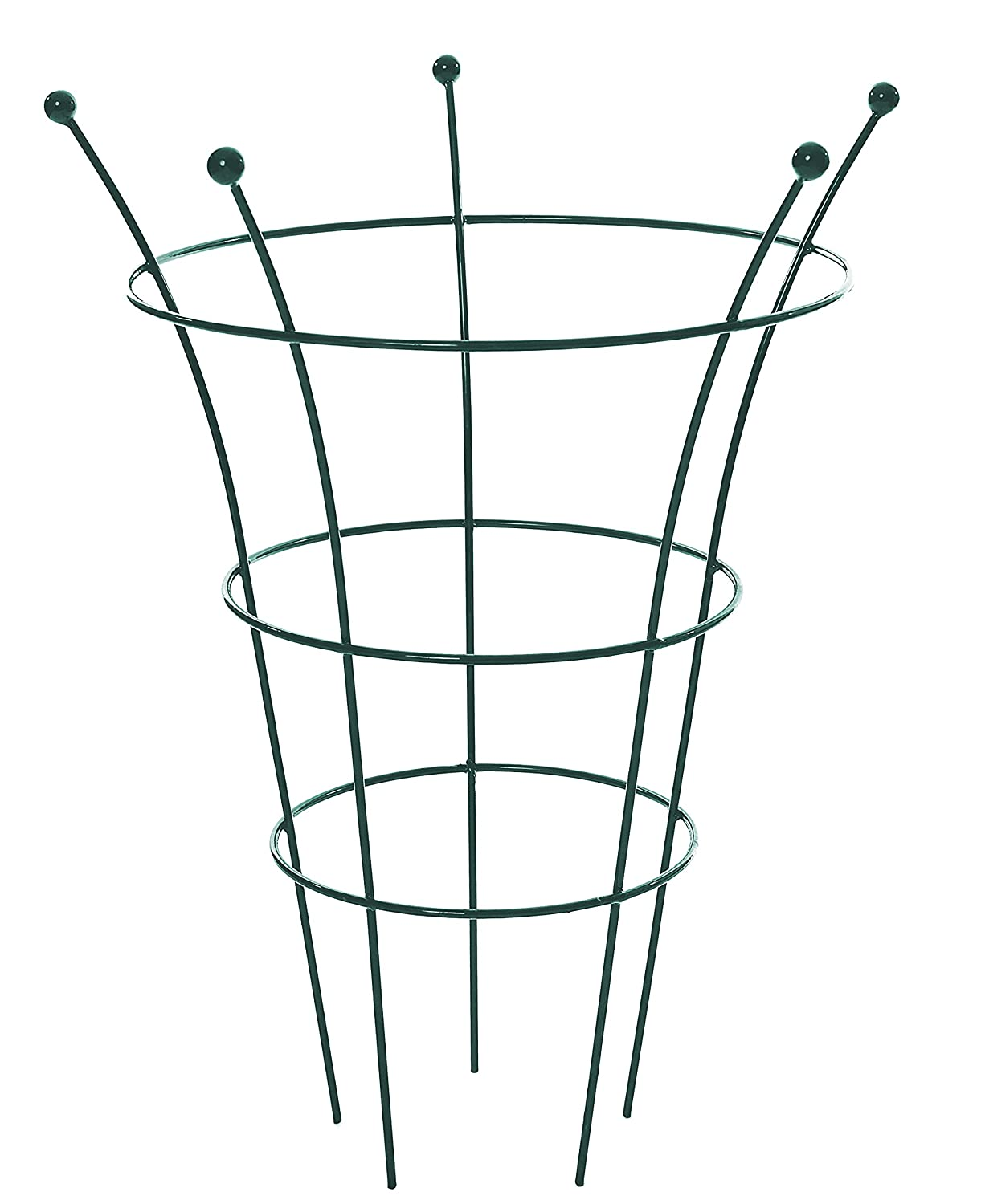 Pack of 2 x Heavy Duty 50cm dia Green Herbaceous Plant Supports Grow Through Meta Plant Support