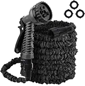 Flantor Garden Hose, 50ft Expandable Water Hose Garden Hose with 7-Pattern Spray Nozzle Collapsible Hose with Lightweight Triple Latex Core for Outdoor Gardening (50 ft, Black)