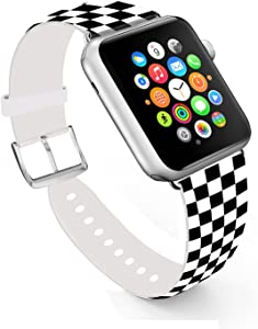 Ecute Compatible with Apple Watch Band 38mm 40mm, Soft Leather Band Strap Compatible with iWatch Series 6/5/4/3/2/1 - Black and White Checkered