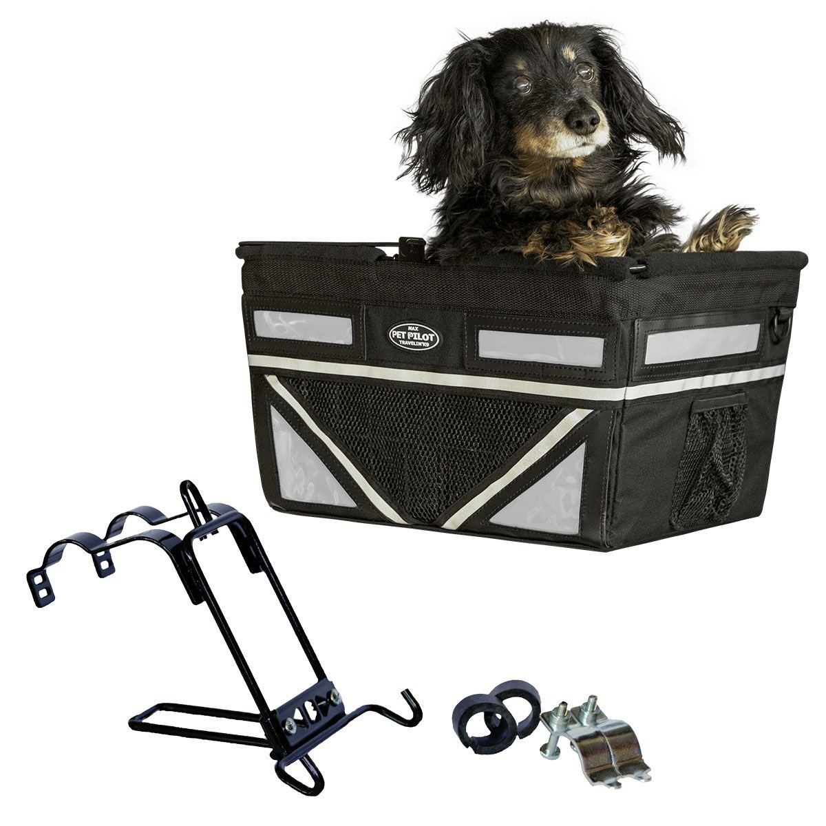 Pet-Pilot MAX dog bicycle basket carrier | 2019 Model with 9 Color Options for your bike (SILVER) by Travelin K9
